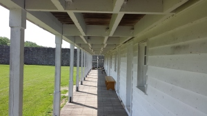 Soldier's barracks with fort wall in the background, Fort Frederick State Park, Washington County