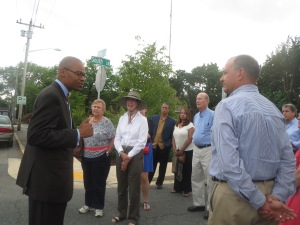 Preservation Maryland board members took time from their strategic planning retreat to tour The Hill, an historic African American neighborhood in Easton.